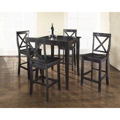 Buy Crosley Furniture 5 Piece 32x32 Pub Table Set w/ Cabriole Leg and X-Back Stools in Black on sale online