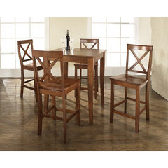 Buy Crosley Furniture 5 Piece 32x32 Pub Table Set w/ Cabriole Leg and X-Back Stools in Classic Cherry on sale online