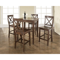 Buy Crosley Furniture 5 Piece 32x32 Pub Table Set w/ Cabriole Leg and X-Back Stools in Vintage Mahogany on sale online