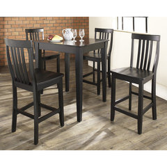 Buy Crosley Furniture 5 Piece 32x32 Pub Table Set w/ Tapered Leg and School House Stools in Black on sale online