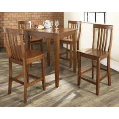 Buy Crosley Furniture 5 Piece 32x32 Pub Table Set w/ Tapered Leg and School House Stools in Classic Cherry on sale online
