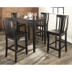 Buy Crosley Furniture 5 Piece 32x32 Pub Table Set w/ Tapered Leg and Shield Back Stools in Black on sale online