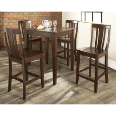 Buy Crosley Furniture 5 Piece 32x32 Pub Table Set w/ Tapered Leg and Shield Back Stools in Vintage Mahogany on sale online