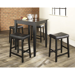 Buy Crosley Furniture 5 Piece 32x32 Pub Table Set w/ Tapered Leg and Upholstered Saddle Stools in Black on sale online