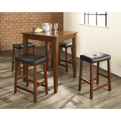 Buy Crosley Furniture 5 Piece 32x32 Pub Table Set w/ Tapered Leg and Upholstered Saddle Stools in Classic Cherry on sale online