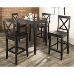 Buy Crosley Furniture 5 Piece 32x32 Pub Table Set w/ Tapered Leg and X-Back Stools in Black on sale online