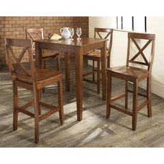 Buy Crosley Furniture 5 Piece 32x32 Pub Table Set w/ Tapered Leg and X-Back Stools in Classic Cherry on sale online