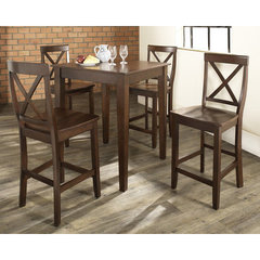 Buy Crosley Furniture 5 Piece 32x32 Pub Table Set w/ Tapered Leg and X-Back Stools in Vintage Mahogany on sale online
