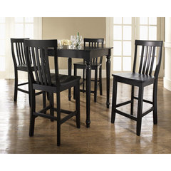 Buy Crosley Furniture 5 Piece 32x32 Pub Table Set w/ Turned Leg and School House Stools in Black on sale online