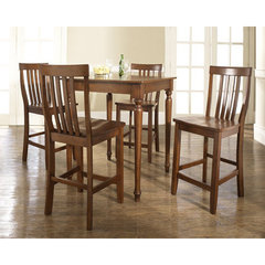 Buy Crosley Furniture 5 Piece 32x32 Pub Table Set w/ Turned Leg and School House Stools in Classic Cherry on sale online