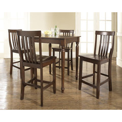 Buy Crosley Furniture 5 Piece 32x32 Pub Table Set w/ Turned Leg and School House Stools in Vintage Mahogany on sale online