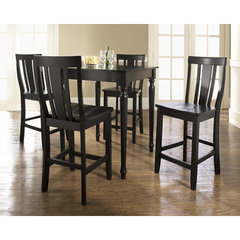 Buy Crosley Furniture 5 Piece 32x32 Pub Table Set w/ Turned Leg and Shield Back Stools in Black on sale online