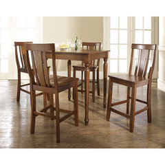 Buy Crosley Furniture 5 Piece 32x32 Pub Table Set w/ Turned Leg and Shield Back Stools in Classic Cherry on sale online