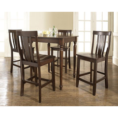 Buy Crosley Furniture 5 Piece 32x32 Pub Table Set w/ Turned Leg and Shield Back Stools in Vintage Mahogany on sale online