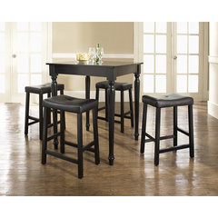 Buy Crosley Furniture 5 Piece 32x32 Pub Table Set w/ Turned Leg and Upholstered Saddle Stools in Black on sale online