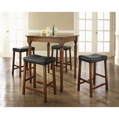 Buy Crosley Furniture 5 Piece 32x32 Pub Table Set w/ Turned Leg and Upholstered Saddle Stools in Classic Cherry on sale online