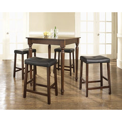 Buy Crosley Furniture 5 Piece 32x32 Pub Table Set w/ Turned Leg and Upholstered Saddle Stools in Vintage Mahogany on sale online
