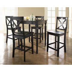 Buy Crosley Furniture 5 Piece 32x32 Pub Table Set w/ Turned Leg and X-Back Stools in Black on sale online