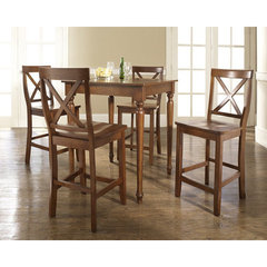 Buy Crosley Furniture 5 Piece 32x32 Pub Table Set w/ Turned Leg and X-Back Stools in Classic Cherry on sale online