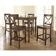 Buy Crosley Furniture 5 Piece 32x32 Pub Table Set w/ Turned Leg and X-Back Stools in Vintage Mahogany on sale online