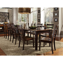 Bristol Point 11 Piece 60x38 Extension Dining Room Set in Oak Espresso