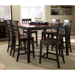 Buy A-America Furniture Bristol Point 7 Piece 54x36 Counter Table Set w/Lattice Back Chairs in Oak Espresso on sale online
