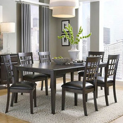 Buy A-America Furniture Bristol Point 7 Piece 60x42 Butterfly Leaf Dining Room Set in Warm Grey on sale online