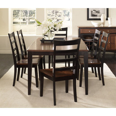 Buy A-America Furniture Bristol Point 7 Piece 60x42 Dining Room Set w/Ladder Back Chairs in Oak Espresso on sale online