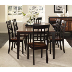 Buy A-America Furniture Bristol Point 7 Piece 60x42 Dining Room Set w/Lattice Back Chairs in Oak Espresso on sale online