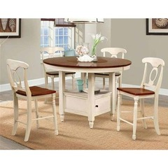 Buy A-America Furniture British Isles 5 Piece 52x52 Counter Table Set w/ Lazy Susan in Merlot Buttermilk on sale online