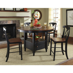 Buy A-America Furniture British Isles 5 Piece 52x52 Counter Table Set w/ Lazy Susan in Oak Black on sale online