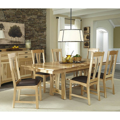 Buy A-America Furniture Cattail Bungalow 7 Piece 60x42 Extension Dining Room Set in Natural Hickory on sale online