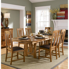 Buy A-America Furniture Cattail Bungalow 7 Piece 60x42 Extension Dining Room Set in Warm Amber on sale online
