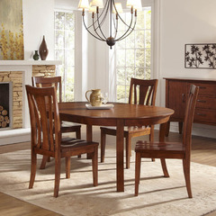 Buy A-America Furniture Grant Park 5 Piece 50x50 Round Butterfly Leaf Dining Room Set in Pecan on sale online