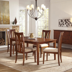 Buy A-America Furniture Grant Park 5 Piece 68x42 Butterfly Leaf Leg Dining Room Set in Pecan on sale online