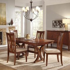 Buy A-America Furniture Grant Park 5 Piece 68x42 Butterfly Leaf Trestle Dining Room Set in Pecan on sale online