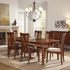 Buy A-America Furniture Grant Park 7 Piece 68x42 Butterfly Leaf Leg Dining Room Set in Pecan on sale online