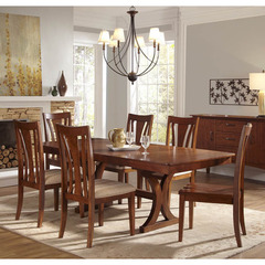 Buy A-America Furniture Grant Park 7 Piece 68x42 Butterfly Leaf Trestle Dining Room Set in Pecan on sale online