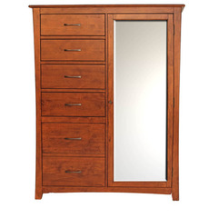 Buy A-America Furniture Grant Park Chifforobe w/ Mirrored Door in Pecan on sale online