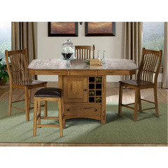 Buy A-America Furniture Laurelhurst 5 Piece 56x42 Butterfly Leaf Gathering Table Set in Rustic Oak on sale online