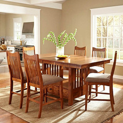 Buy A-America Furniture Laurelhurst 7 Piece 56x42 Butterfly Leaf Gathering Table Set in Mission Oak on sale online