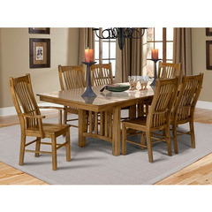 Buy A-America Furniture Laurelhurst 7 Piece 60x42 Extension Dining Room Set in Rustic Oak on sale online