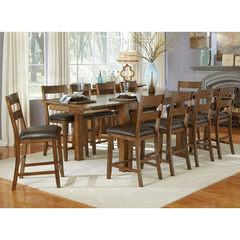 Buy A-America Furniture Mariposa 11 Piece 64x38 Gathering Table Set w/ Ladderback Chairs in Rustic Whiskey on sale online