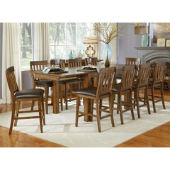 Buy A-America Furniture Mariposa 11 Piece 64x38 Gathering Table Set w/ Slatback Chairs in Rustic Whiskey on sale online