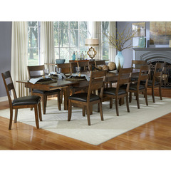 Buy A-America Furniture Mariposa 11 Piece 78x40 Dining Room Set w/ Ladderback Chairs in Rustic Whiskey on sale online