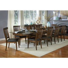 Buy A-America Furniture Mariposa 11 Piece 78x40 Dining Room Set w/ Slatback Chairs in Rustic Whiskey on sale online