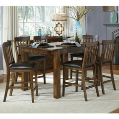 Buy A-America Furniture Mariposa 7 Piece 64x38 Gathering Table Set w/ Slatback Chairs in Rustic Whiskey on sale online