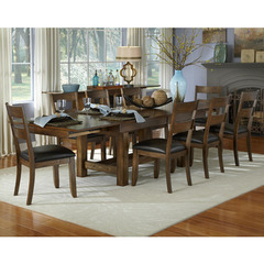 Mariposa 9 Piece 78x40 Dining Room Set w/ Ladderback Chairs in Rustic Whiskey