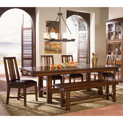 Buy A-America Furniture Mesa Rustica 6 Piece 76x44 Dining Room Set w/ Slatback Chairs in Aged Mahogany on sale online
