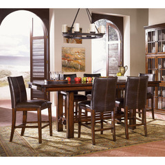 Buy A-America Furniture Mesa Rustica 7 Piece 72x40 Gathering Table Set w/ Parson Chairs in Aged Mahogany on sale online